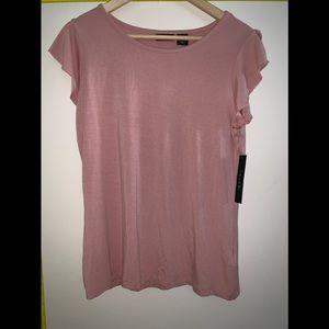 NWT Tahari Dusty Pink Ruffle Sleeve Top